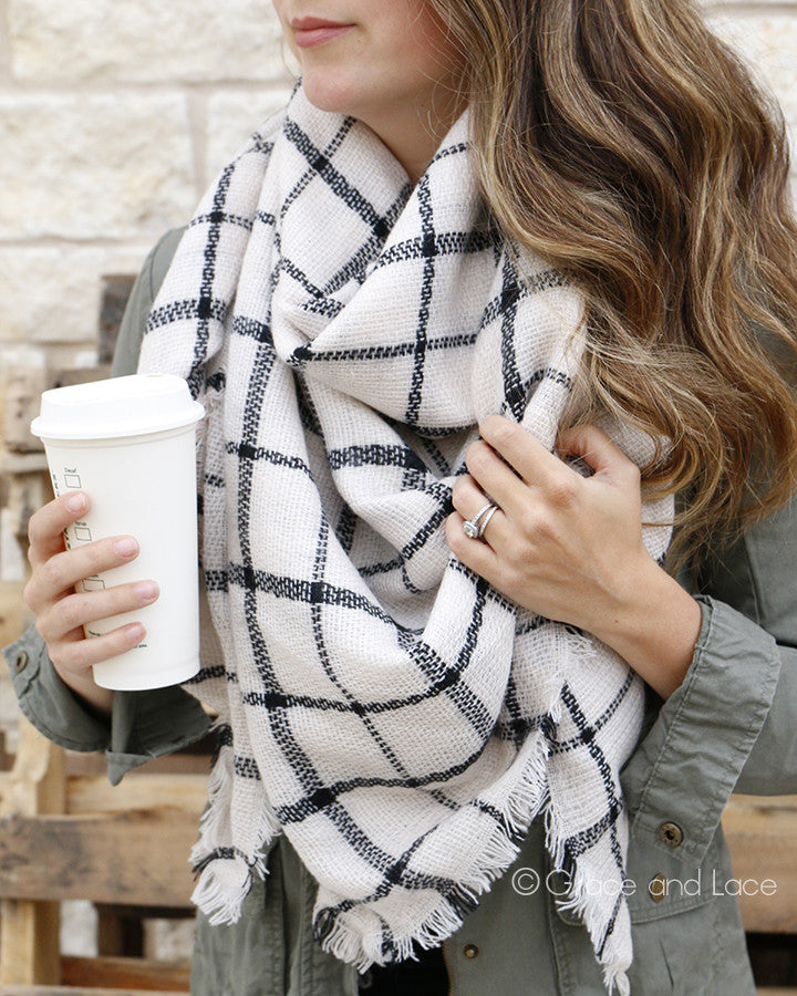 Grace & Lace Blanket Scarf/Toggle Poncho (Eggshell/Black Plaid)