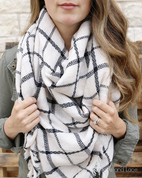 Grace & Lace Blanket Scarf/Toggle Poncho (Eggshell/Black Plaid) - Babe Outfitters