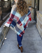 Grace & Lace Blanket Scarf/Toggle Poncho (Red/Mint Color Block) - Babe Outfitters
