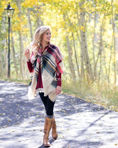 Grace & Lace Blanket Scarf/Toggle Poncho (Red & Sage Plaid) - Mint Wish