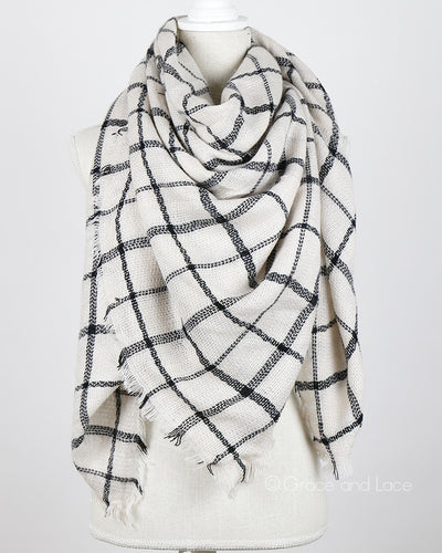 Grace & Lace Blanket Scarf/Toggle Poncho™ (Eggshell/Black Plaid) - Mint Wish