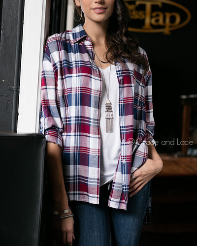 Grace & Lace Boyfriend Plaid Button Down (Plum/Navy) - Babe Outfitters