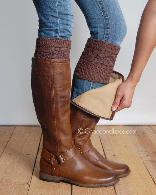 Grace & Lace Cable Knit Boot Cuff (Coffee)