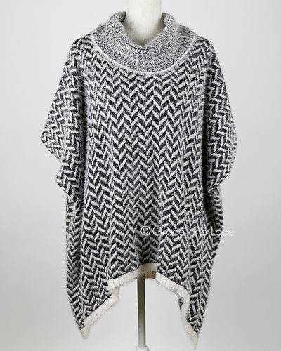Grace & Lace Cozy Cowl Sweater (Black and White Herringbone) - Mint Wish