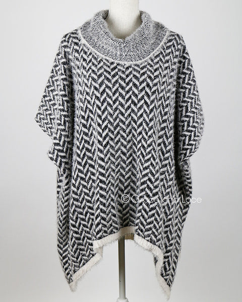 Grace & Lace Cozy Cowl Sweater (Black and White Herringbone) - Babe Outfitters