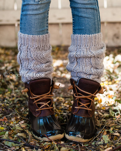 Grace & Lace Cozy Cable Knit Leg Warmers™ - Mint Wish