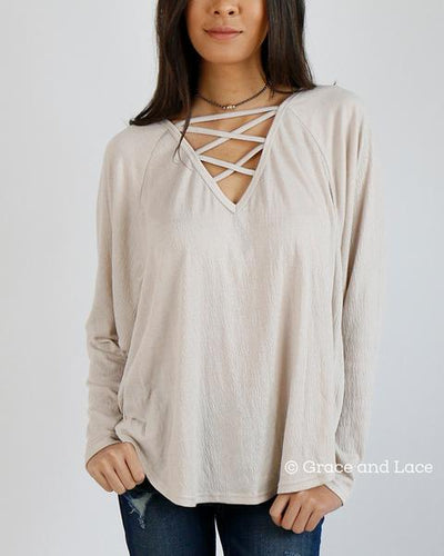 Grace & Lace Criss Cross Raglan Top - Mint Wish