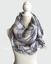 Grace & Lace Blanket Scarf/Toggle Poncho (Navy Striped) - Babe Outfitters