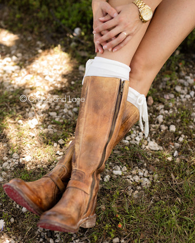 Grace & Lace Jersey Tie Boot Cuffs - Mint Wish