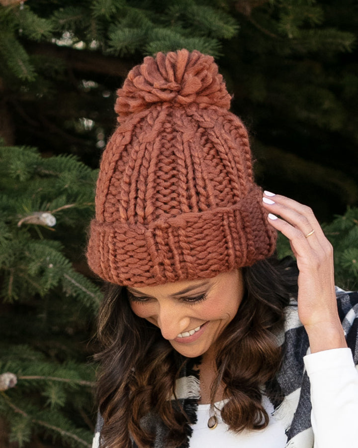 Grace & Lace Knit Pom Hat (Rust)