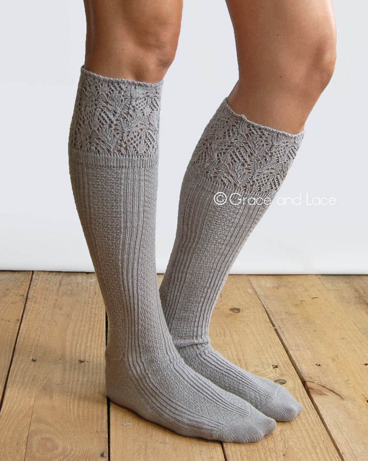 Grace & Lace Lace Knit Boot Socks (Light Grey)