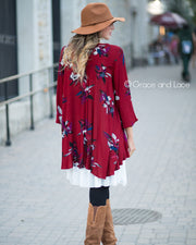 Grace & Lace Long Sleeve Keyhole Pocket Tunic (Cranberry) - Babe Outfitters