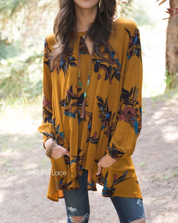 Grace & Lace Long Sleeve Keyhole Pocket Tunic (Mustard) - Babe Outfitters