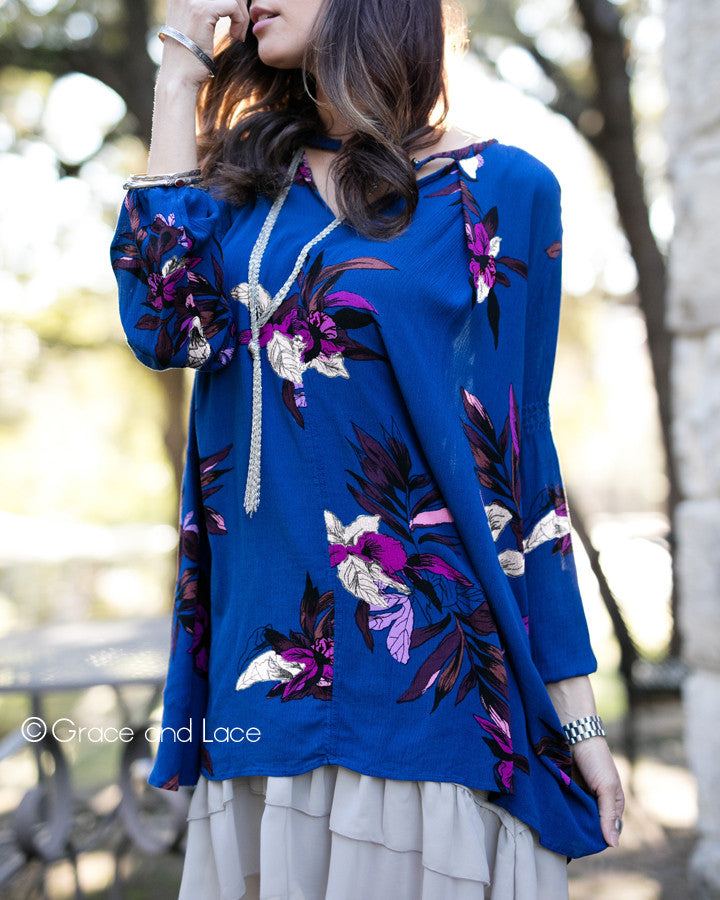 Grace & Lace Long Sleeve Keyhole Pocket Tunic (Royal Blue) - Babe Outfitters