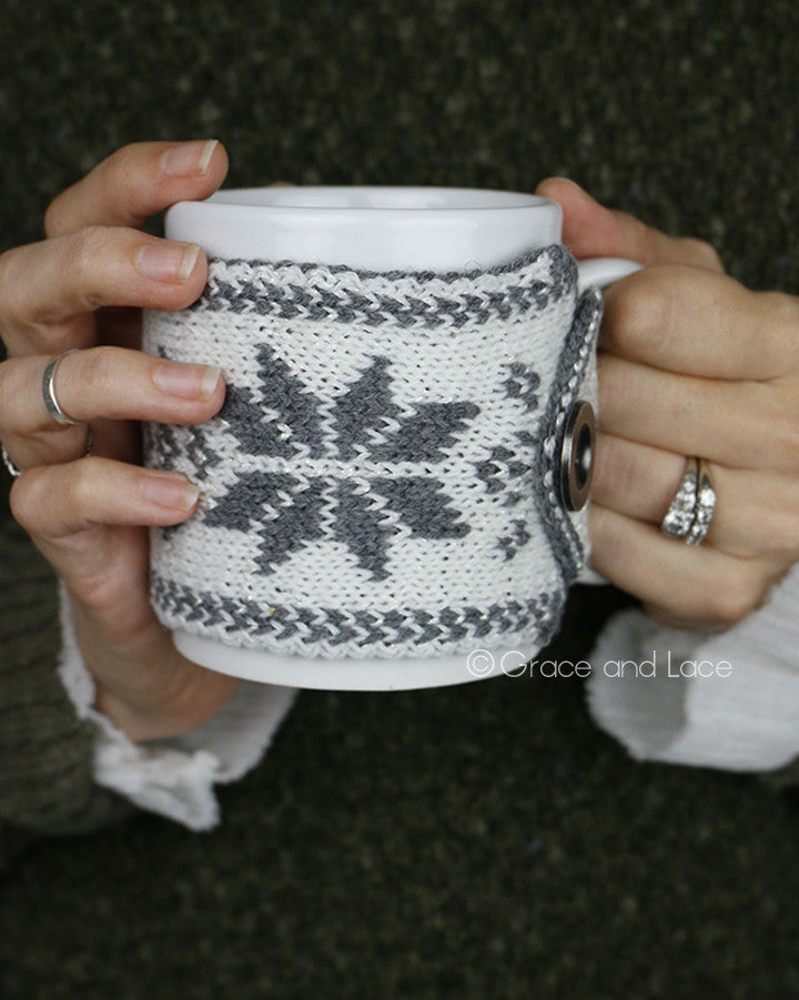 Grace and Lace Reversible Button Mug Cozy™