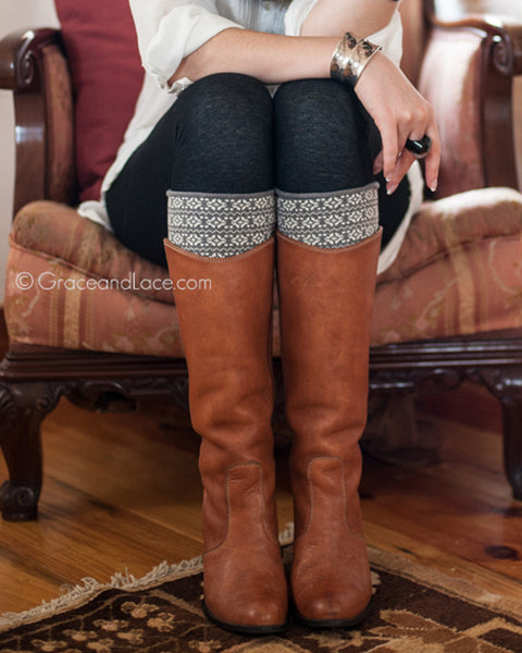 Grace & Lace Patterned Boot Cuffs™ (Snowflake - Grey & Cream) - Mint Wish
