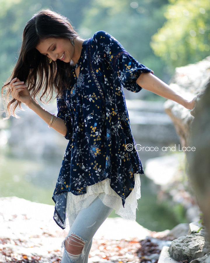 Grace and Lace  Peasant Tunic in Navy Floral - Babe Outfitters