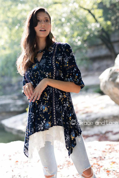 Grace and Lace  Peasant Tunic in Navy Floral - Mint Wish