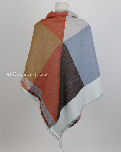 Grace & Lace Blanket Scarf/Pinned Poncho™ in Terracotta - Mint Wish