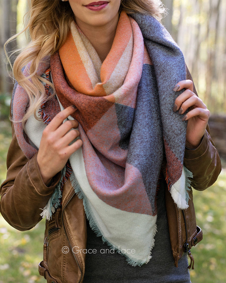 Grace & Lace Blanket Scarf/Pinned Poncho (Terracotta) - Babe Outfitters