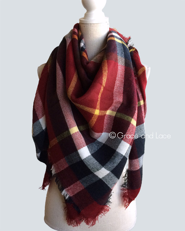 Grace & Lace Blanket Scarf/Toggle Poncho (Red Plaid) - Babe Outfitters