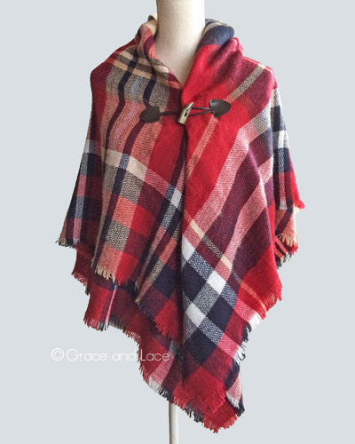Grace & Lace Blanket Scarf/Toggle Poncho™ in Red Plaid - Mint Wish