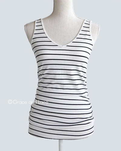 Grace & Lace Reversible Striped Perfect Fit Tank (Black & Ivory) - Mint Wish