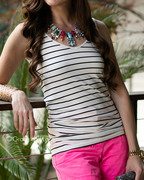 Grace & Lace Reversible Striped Perfect Fit Tank (Black & Ivory) - Babe Outfitters
