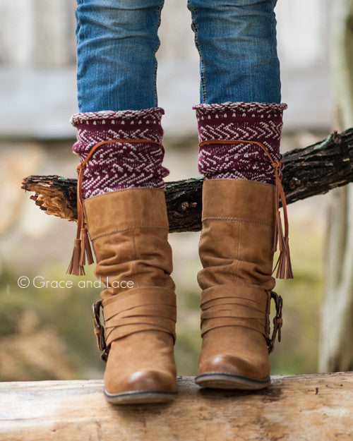 Grace & Lace Tahoe Tassel Boot Socks (Wine/Natural)