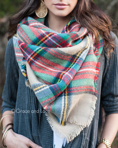 Grace & Lace Blanket Scarf/Toggle Poncho (Tan Multicolor) - Babe Outfitters