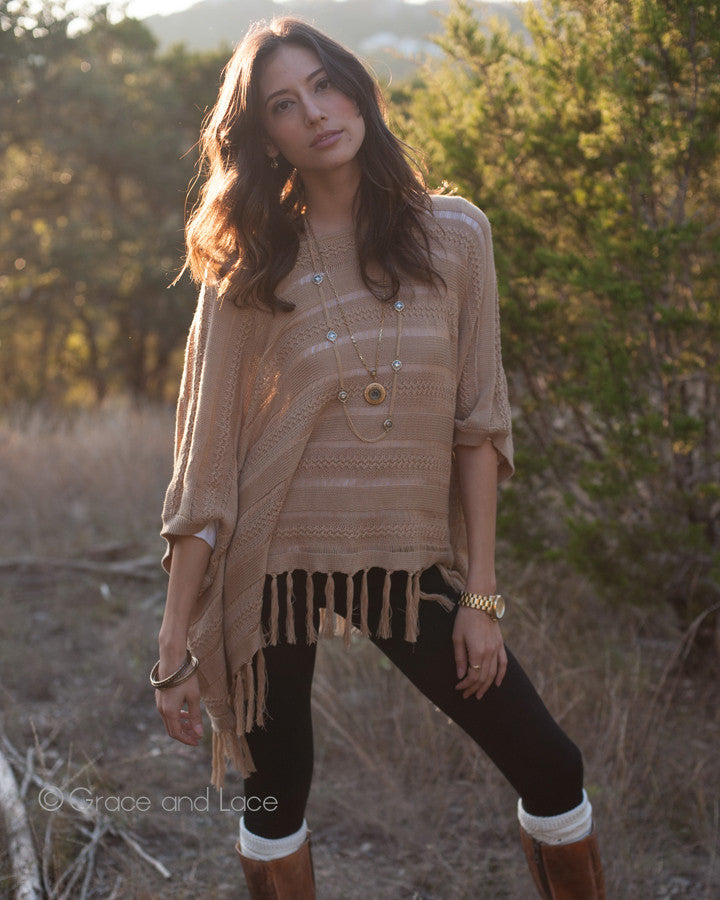 Grace & Lace Open Knit Poncho™ (Camel) - Babe Outfitters