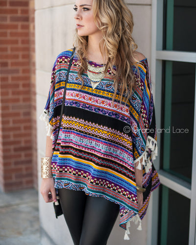 Grace & Lace Tassel Trim Tunic™ in Multicolor - Mint Wish