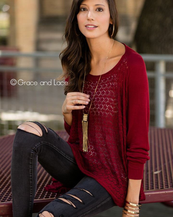 Grace & Lace Open Knit Light Weight Two Fit Knit Cardigan - Babe Outfitters