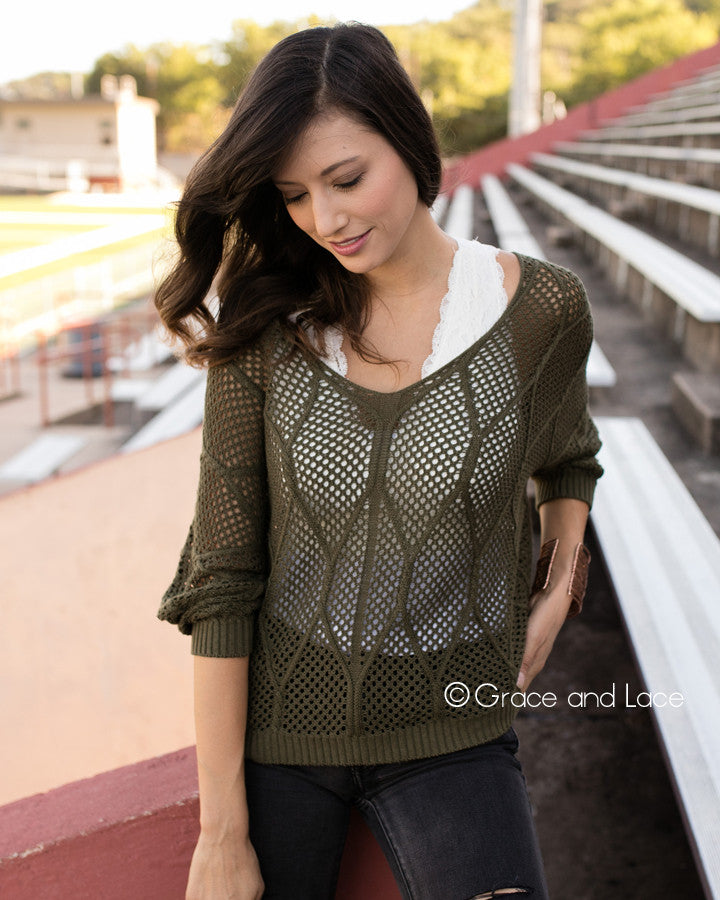 Grace & Lace V-Neck Slouch Pullover (Olive) - Babe Outfitters