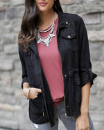 Grace & Lace Washed Tencel Cargo Jacket - Babe Outfitters