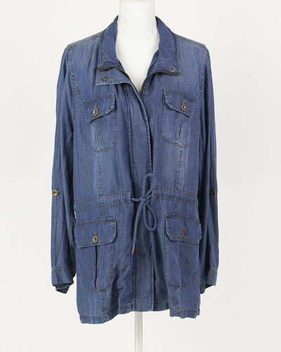 Grace & Lace Washed Tencel Cargo Jacket (Chambray) - Mint Wish