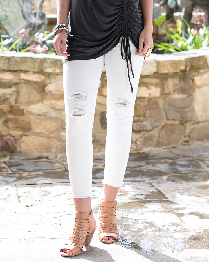 Grace & Lace white Zip Up Cropped Jeggings - Mint Wish