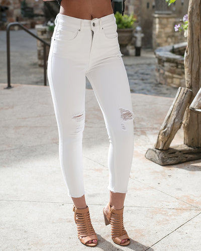 Grace & Lace white Zip Up Cropped Jeggings (White) - Babe Outfitters