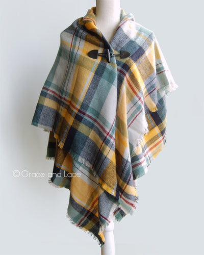 Grace & Lace Blanket Scarf/Toggle Poncho™ in Yellow/Navy - Mint Wish
