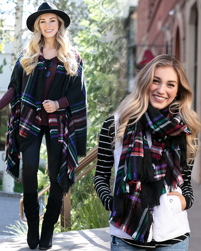 Grace & Lace Winter Weight Pocket Poncho/Scarf (Black Plaid) - Babe Outfitters