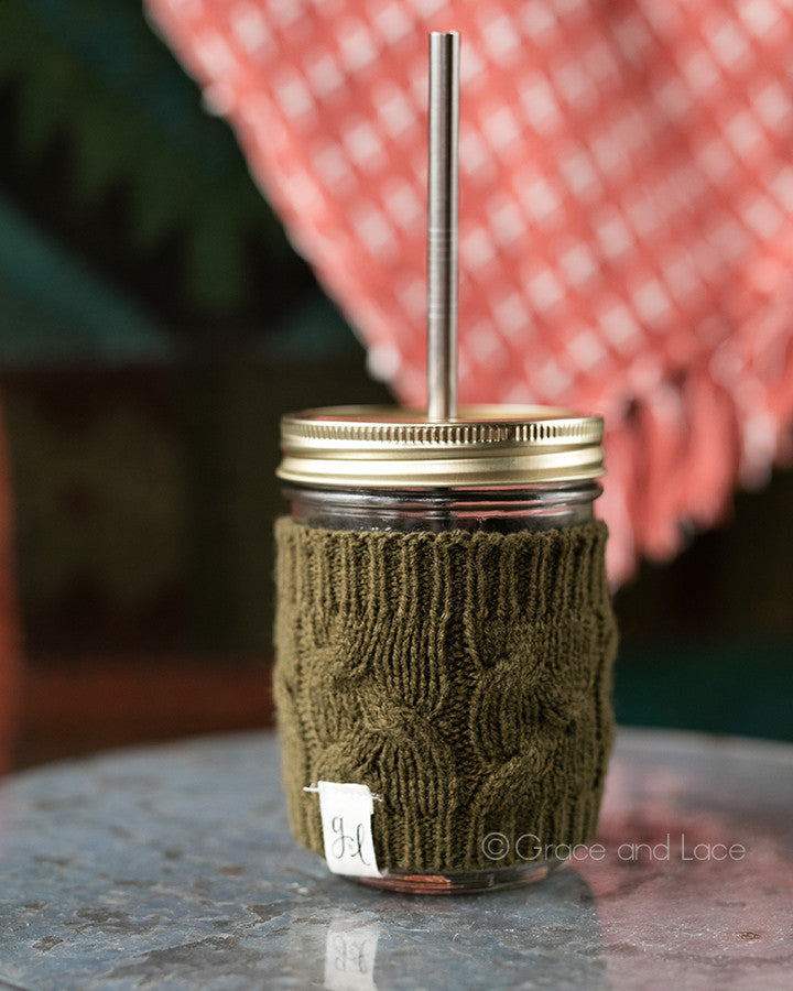 Grace and Lace Cabled Cup Cozy™ (Moss)