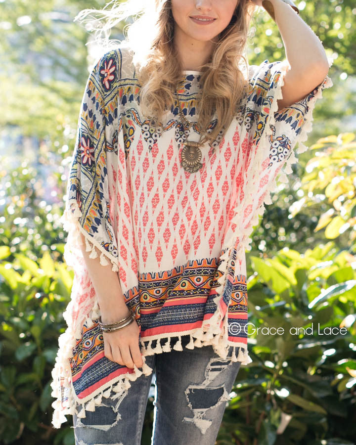 Grace & Lace Tassel Trim Tunic in Coral - Babe Outfitters