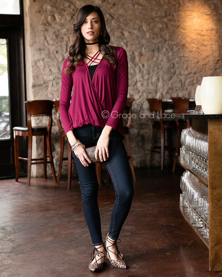 Grace & Lace Favorite Crossover Tee - Babe Outfitters