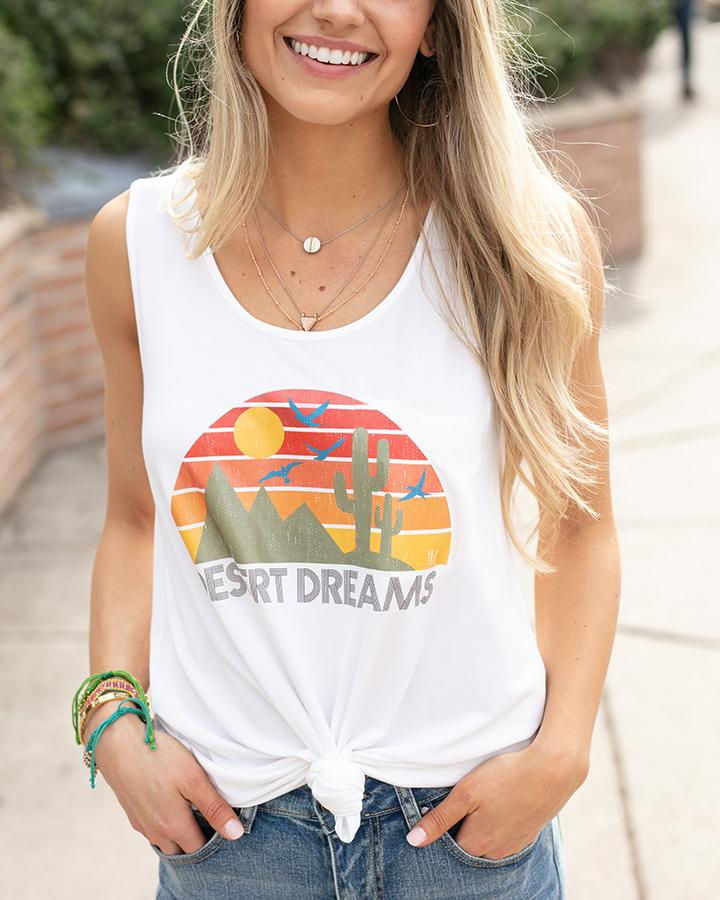 Grace & Lace Desert Dreams Perfect Tank Graphic Tee (Ivory)
