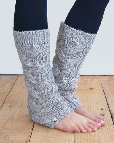 Grace & Lace Cozy Cable Knit Leg Warmers Light Grey - Mint Wish