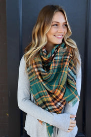 Cozy Up Blanket Scarf (Green Plaid) - Babe Outfitters