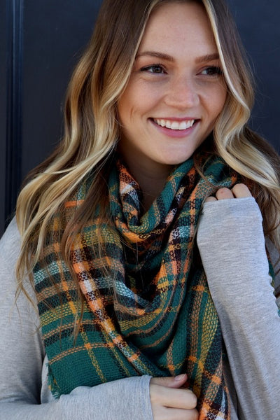Blanket Scarf (Green Plaid) - Mint Wish