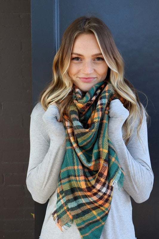 Blanket Scarf (Green Plaid)