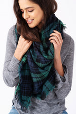 Cheer Up Blanket Scarf (Green Plaid Combo) - Babe Outfitters