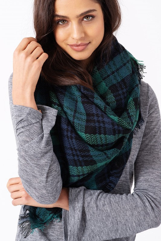 Tartan Plaid Blanket Scarf (Green Combo)